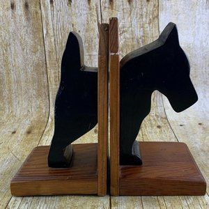 Wood Bookend Scottish Terrier Dog Tommy Dixon